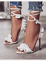 cheap -Women's Sandals Stiletto Heel Open Toe Stitching Lace PU Business / Minimalism Spring &  Fall / Spring & Summer White / Party & Evening / Color Block