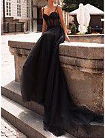 cheap -A-Line Sexy Black Engagement Formal Evening Dress Sweetheart Neckline Sleeveless Court Train Tulle with Beading Sequin 2020