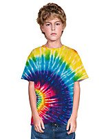 cheap -Kids Boys' Active Punk & Gothic Color Block 3D Rainbow Short Sleeve Tee Blue