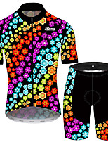 cheap -21Grams Men's Short Sleeve Cycling Jersey with Shorts Black / Red Floral Botanical Bike Clothing Suit UV Resistant Breathable 3D Pad Quick Dry Sweat-wicking Sports Geometric Mountain Bike MTB Road