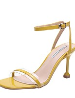 cheap -Women's Sandals Stiletto Heel Square Toe PU Summer Black / Almond / Yellow