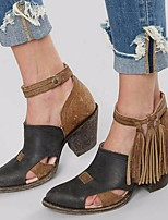 cheap -Women's Sandals Chunky Heel Open Toe PU Summer Brown / Black / Gray