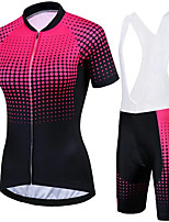 cheap -21Grams Women's Short Sleeve Cycling Jersey with Bib Shorts Black / Red Polka Dot Bike Clothing Suit Breathable 3D Pad Quick Dry Ultraviolet Resistant Sweat-wicking Sports Polka Dot Mountain Bike MTB