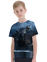 cheap -Kids Boys' Active Punk & Gothic 3D Plaid Animal Short Sleeve Tee Blue