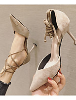 cheap -Women's Heels Stiletto Heel Pointed Toe PU Spring & Summer Black / Khaki