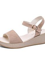 cheap -Women's Sandals Wedge Heel Round Toe Rubber Casual / Minimalism Walking Shoes Summer / Spring & Summer Black / Pink / Beige