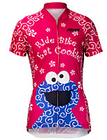 cheap -21Grams Women's Short Sleeve Cycling Jersey 100% Polyester Red+Blue Cartoon Bike Jersey Top Mountain Bike MTB Road Bike Cycling UV Resistant Breathable Quick Dry Sports Clothing Apparel / Stretchy