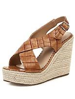 cheap -Women's Sandals Wedge Heel Open Toe PU British / Minimalism Fall / Spring & Summer Brown / Black / Party & Evening