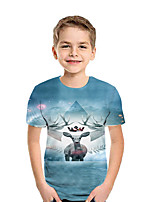 Недорогие -Дети Мальчики Классический 3D С короткими рукавами Футболка Цвет радуги