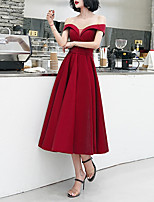 cheap -A-Line Off Shoulder Tea Length Satin Minimalist / Red Cocktail Party / Prom Dress with Buttons 2020
