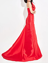 cheap -Mermaid / Trumpet Sexy Red Engagement Formal Evening Dress Strapless Sleeveless Sweep / Brush Train Satin with Bow(s) 2020