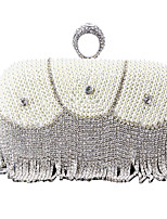 cheap -Women's Crystals / Tassel Polyester / Alloy Evening Bag Geometric Pattern Silver / Black