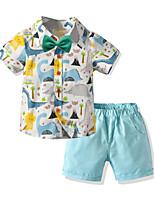 cheap -Toddler Boys' Basic Birthday Party Party & Evening Tropical Leaf Dinosaur Cartoon Print Short Sleeve Regular Regular Clothing Set Blue