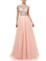 cheap -A-Line Jewel Neck Floor Length Polyester Luxurious / Pink Engagement / Formal Evening Dress with Crystals / Beading 2020