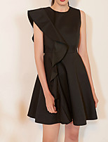 cheap -A-Line Jewel Neck Short / Mini Satin Little Black Dress / Black Cocktail Party / Homecoming Dress with Ruffles 2020