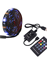 cheap -5m TV Background Light Strip Flexible LED Light Strips  RGB Strip Lights 150 LEDs SMD5050 10mm 1 24Keys Remote Controller 1 set Multi Color Waterproof / USB / Self-adhesive 5 V