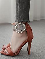 cheap -Women's Sandals Stiletto Heel Round Toe Rubber Summer Light Brown / Black