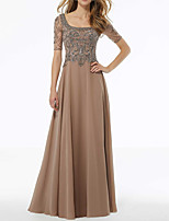 cheap -A-Line Scoop Neck Floor Length Chiffon Elegant / Gold Wedding Guest / Formal Evening Dress with Beading / Appliques 2020