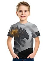 Недорогие -Дети Мальчики Активный Уличный стиль 3D Животное С принтом С короткими рукавами Футболка Серый