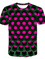 Недорогие -Дети Мальчики Классический Уличный стиль Контрастных цветов 3D Радужный С принтом С короткими рукавами Футболка Лиловый