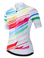 cheap -21Grams Women's Short Sleeve Cycling Jersey 100% Polyester Red / White Stripes Bike Jersey Top Mountain Bike MTB Road Bike Cycling UV Resistant Breathable Quick Dry Sports Clothing Apparel / Stretchy