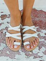cheap -Women's Sandals Flat Heel Round Toe PU Summer White