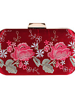 cheap -Women's Crystals / Embroidery Polyester Evening Bag Floral Print Black / White / Red