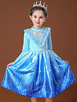 cheap -Princess Elsa Dress Flower Girl Dress Girls' Movie Cosplay Cosplay Costume Party Blue / Pink Dress Sequin Polyster