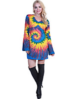 cheap -Hippie Diva Disco 1980s Dress Women's Costume Rainbow Vintage Cosplay Party Long Sleeve
