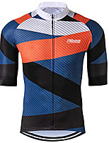 cheap -21Grams Men's Short Sleeve Cycling Jersey 100% Polyester Blue / Black Stripes Bike Jersey Top Mountain Bike MTB Road Bike Cycling UV Resistant Breathable Quick Dry Sports Clothing Apparel / Stretchy