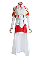 cheap -Inspired by SAO Swords Art Online Asuna Yuuki Anime Cosplay Costumes Japanese Cosplay Suits Top Skirt Sleeves For Women's / Belt / Socks / Breastplate