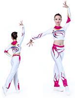 cheap -Cheerleader Costume Gymnastics Suits Women's Girls' Kids Pants / Trousers Spandex High Elasticity Handmade Long Sleeve Competition Dance Rhythmic Gymnastics Gymnastics White