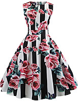 cheap -Women's Party Daily Cute Street chic Swing Dress - Striped Floral Patchwork Print Black S M L XL