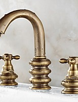 cheap -Bathroom Sink Faucet - Widespread Electroplated Widespread Two Handles Three HolesBath Taps