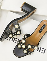 cheap -Women's Sandals Chunky Heel Round Toe PU Spring & Summer Black / Almond / White