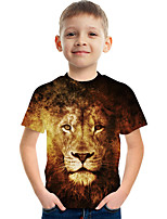 cheap -Kids Boys' Basic Street chic Color Block 3D Print Short Sleeve Tee Brown