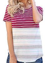 cheap -Women's Daily T-shirt - Striped Blue