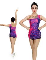 cheap -Rhythmic Gymnastics Leotards Artistic Gymnastics Leotards Women's Girls' Leotard Purple Spandex High Elasticity Handmade Jeweled Diamond Look Sleeveless Competition Dance Rhythmic Gymnastics Artistic