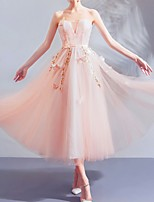 cheap -A-Line Strapless Tea Length Tulle Floral / Pink Engagement / Cocktail Party Dress with Appliques 2020