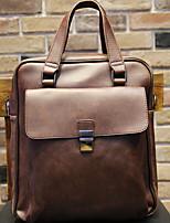 cheap -Men's Zipper PU Top Handle Bag Solid Color Brown