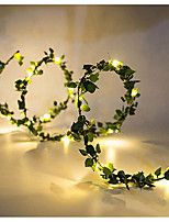 cheap -1pcs 10m 100leds Outdoor LED Holiday Light Leaf Twine Fairy Garland String Lights Battery Power Operate for Rustic Wedding Party Decor