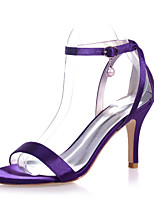 cheap -Women's Wedding Shoes Stiletto Heel Open Toe Imitation Pearl Satin Minimalism Spring & Summer White / Purple / Red / Party & Evening