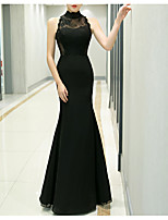 cheap -Mermaid / Trumpet High Neck Floor Length Polyester Sexy / Black Prom / Formal Evening Dress with Appliques 2020