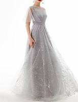 cheap -A-Line Jewel Neck Floor Length Polyester Luxurious / Grey Engagement / Prom Dress with Beading / Sequin 2020