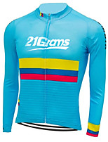 cheap -Men's Long Sleeve Cycling Jersey 100% Polyester Blue Stripes Columbia National Flag Bike Jersey Top Mountain Bike MTB Road Bike Cycling UV Resistant Breathable Quick Dry Sports Clothing Apparel