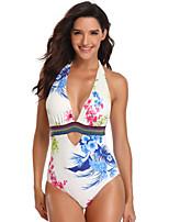 cheap -Women's Beach Girl Vintage 1980s Bikini Peplum Swimsuit Monokini Spandex Tactel Printing White Leotard / Onesie