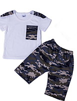 cheap -Kids Boys' Basic Daily Wear Color Block Short Sleeve Regular Regular Clothing Set Black