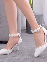 cheap -Women's Wedding Shoes Stiletto Heel Pointed Toe Imitation Pearl / Buckle / Stitching Lace PU Sweet Spring & Summer / Fall & Winter White