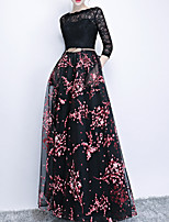 cheap -A-Line Jewel Neck Floor Length Polyester Elegant / Black Engagement / Prom Dress with Appliques / Pattern / Print 2020