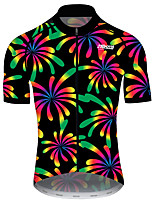 cheap -21Grams Men's Women's Short Sleeve Cycling Jersey 100% Polyester Black / Red Floral Botanical Bike Jersey Top Mountain Bike MTB Road Bike Cycling UV Resistant Breathable Quick Dry Sports Clothing